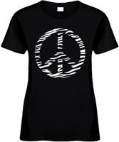 ZEBRA PEACE SIGN Womens Tees Novelty Funny T-Shirts