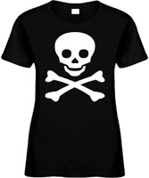 Skull And Cross Bones Funny T-Shirts Womens Novelty Tees