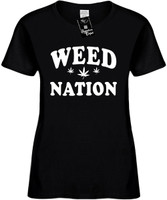 Weed Nation (with pot weed leaf) Womens Novelty T-Shirt