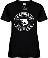 I'd Rather be Fishing with Shark (round badge) Womens Novelty T-Shirt