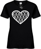 Large Heart Shape Musical Cleft Notes Womens Novelty T-Shirt