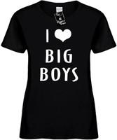 I LOVE (HEART) BIG BOYS Womens Novelty T-Shirt