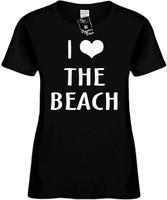 I LOVE (HEART) THE BEACH Womens Novelty T-Shirt