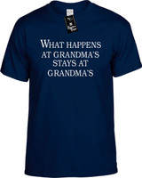 What Happens At Grandmas Stays At Grandmas Funny Youth Novelty T-Shirt