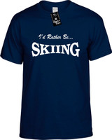 Id Rather Be Skiing Funny T-Shirts Youth Novelty Tees