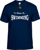 Id Rather Be Swimming Funny T-Shirts Youth Novelty Tees