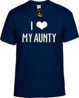 I Love (Heart) My Aunty Funny T-Shirts Youth Novelty Tees