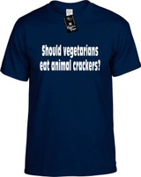 Should Vegetarians Eat Animal Crackers? Funny T-Shirts Youth Novelty Tees