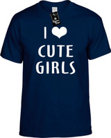 I LOVE (HEART) CUTE GIRLS Youth Novelty T-Shirt