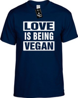 Love Is Being Vegan (Food Health) Herbivore Youth Novelty T-Shirt