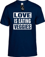 Love Is Eating Veggies (Food Health) Vegan Vegetarian Youth Novelty T-Shirt