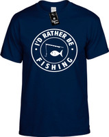 Id Rather be Fishing with Pole (round badge) Youth Novelty T-Shirt
