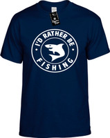 Id Rather be Fishing with Shark (round badge) Youth Novelty T-Shirt