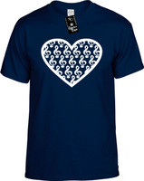 Large Heart Shape Musical Cleft Notes Youth Novelty T-Shirt