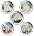 2013-2014 $1 Australian Megafauna 1oz Silver 5 Coin Collection w/Case