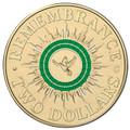 2014 $2 Remembrance Day C Mintmark Colour UNC