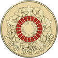 2015 $2 Coloured Red Coin ANZAC DAY Australia Anzacs Two Dollars