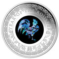 2017 $1 Year Of The Rooster Opal 1oz Silver Proof