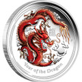 Australian Lunar Silver Coin Series II 2012 Year of the Dragon 1oz Coloured Proof Coin