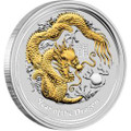 AUSTRALIAN LUNAR SILVER COIN SERIES II 2012 YEAR OF THE DRAGON GILDED EDITION