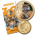 2012 Animals of the Zoo Series-$1 Coloured Unc Coin - Sumatran Tiger