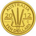 2012 $10 Gold Proof Mintmark - Wheat Sheaf Ballot Coin