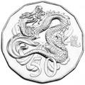 2012 UNC 50c Lunar Dragon Tetra-decagon Coin