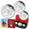 2014 Lunar Year of the Horse Silver Proof 3 Coin Set