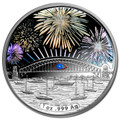 2014 $1 Sydney New Years Eve Fireworks Hologram 1oz Silver Proof