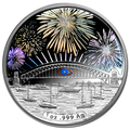 2014 $1 Sydney New Years Eve Fireworks Hologram 1oz Silver Proof