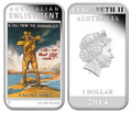2014 $1 Anzac Spirit Posters – Enlistment 1oz Silver Proof w/FREE Poster