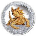 Tuvalu 2014 $1 Remarkable Reptiles - Thorny Devil 1oz Silver Proof