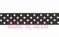 Black Polkadot Ribbon 15mm