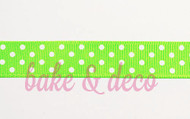Electric Green Polkadot Ribbon 15mm