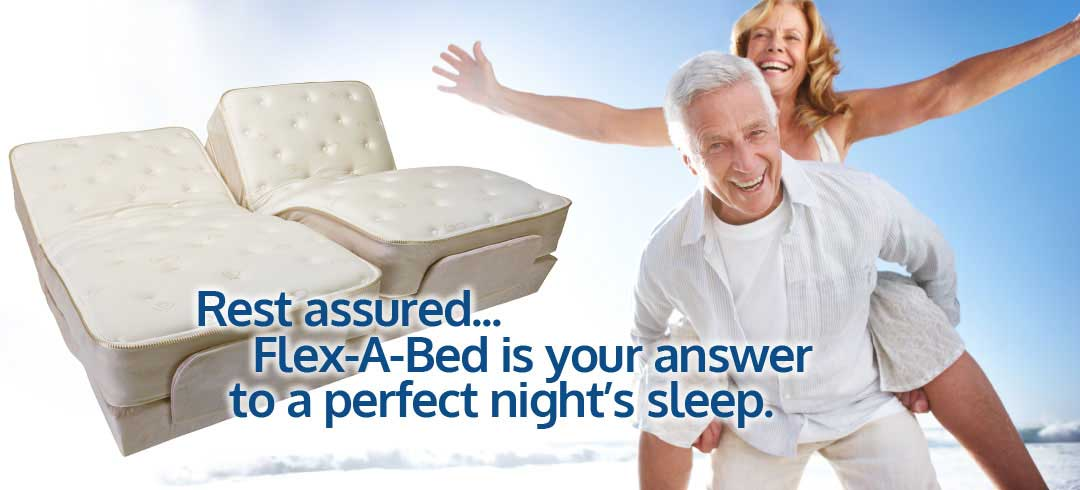 Photo of refreshed couple celebrating their Dual King Flex-A-Bed adjustable bed