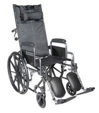 "Drive Medical Silver Sport Reclining Wheelchair with Elevating Leg Rests - 16"", 18"" or 20"" Seat"
