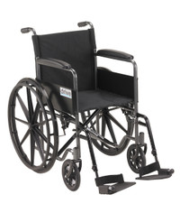 "Drive Silver Sport 1 Wheelchair with Full Arms and Swing Away Removable Footrest - 18"" Seat"