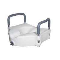 Elevated Raised Toilet Seat w/ Removable Padded Arms - 5 Inch, 300 Lbs. Capacity