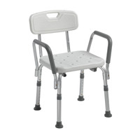 Drive Medical Knock-Down Bath Bench with Back and Padded Arms