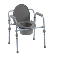 Drive Medical Folding Bedside Commode with Bucket & Splash Guard