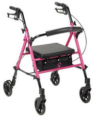 """Drive American Cancer Society Breast Cancer Awareness Rollator with Adjustable Seat - 29.5"""" to 38"""" Handle Height"""