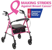 """Proceeds from the purchase of this Drive rollator go to the American Cancer Society """"Making Strides"""" campaign to fight breast cancer."""