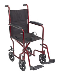 "The Drive Aluminum Lightweight Transport Chair comes in 17"" ATC17 and 19"" ATC19 widths (shown in red)"