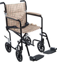 Deluxe Fly-Weight Aluminum Transport Wheelchair