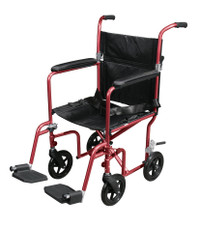 Deluxe Fly-Weight Aluminum Transport Wheelchair with Removable Wheels - Red