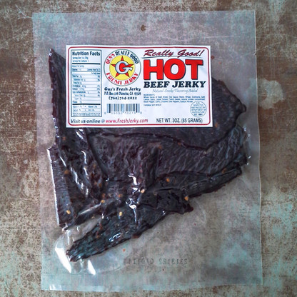 Hot Beef Jerky.  Made with red chili,  No sugar added,
