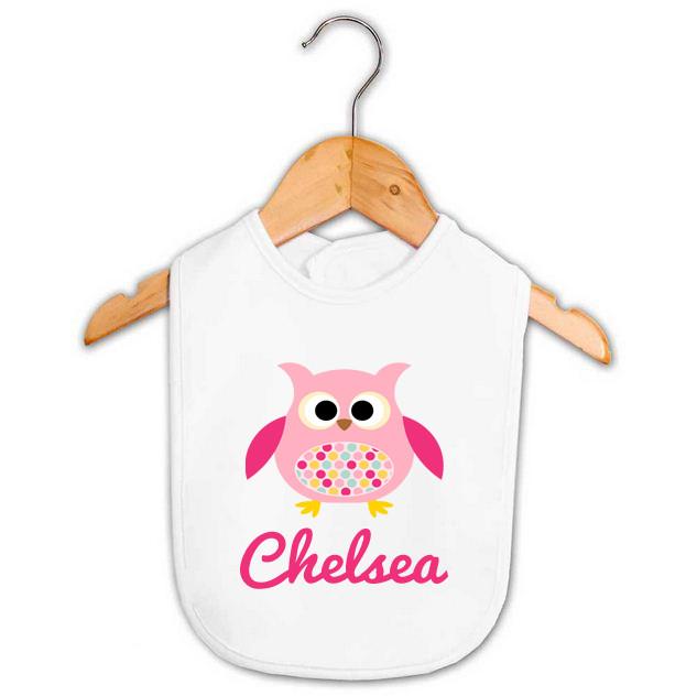 Owl Baby Gifts Australia : Girl s name pink polka dot owl baby bib personalised