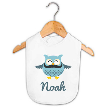 Personalised Boy's Blue Moustache Owl Baby Bib