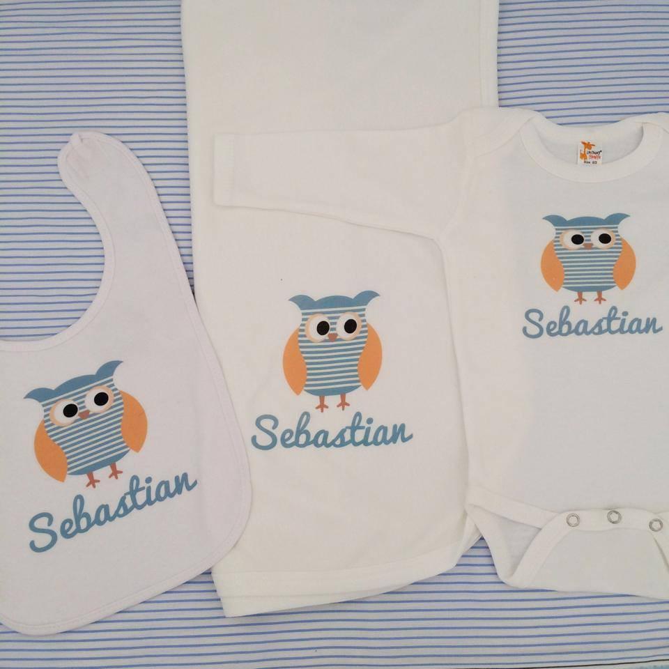 Owl Baby Gifts Australia : Boy s name blue striped owl baby bib personalised