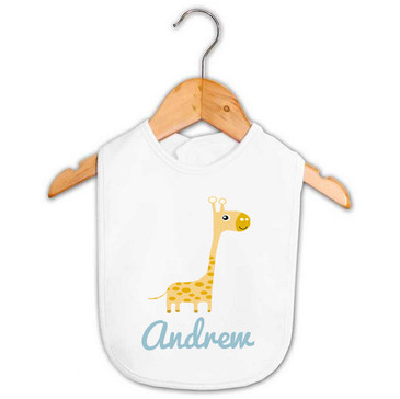 Personalised Boy's Giraffe Baby Bib